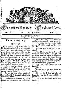 Frankensteiner Wochenblatt vom 19.02.1840