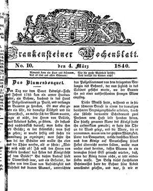 Frankensteiner Wochenblatt vom 04.03.1840