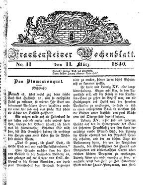 Frankensteiner Wochenblatt vom 11.03.1840