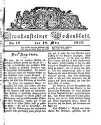 Frankensteiner Wochenblatt (18.03.1840)