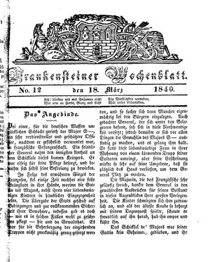 Frankensteiner Wochenblatt vom 18.03.1840