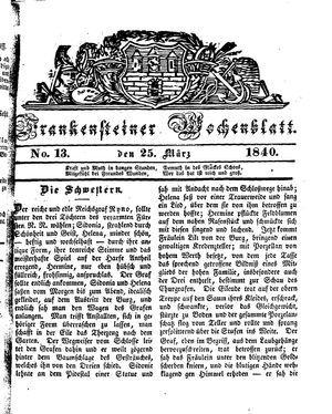 Frankensteiner Wochenblatt on Mar 25, 1840