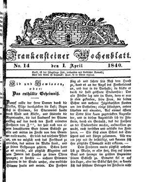 Frankensteiner Wochenblatt vom 01.04.1840