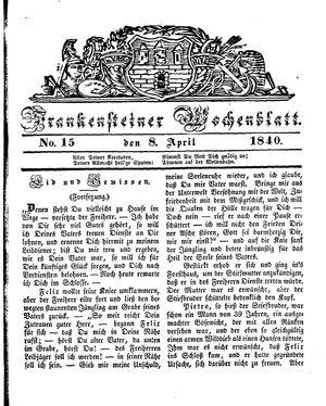 Frankensteiner Wochenblatt vom 08.04.1840