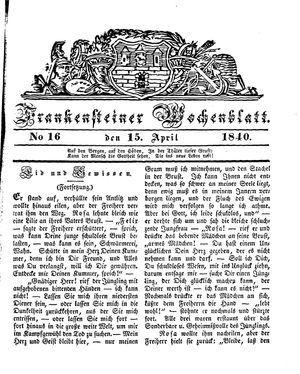 Frankensteiner Wochenblatt vom 15.04.1840