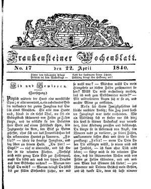 Frankensteiner Wochenblatt vom 22.04.1840