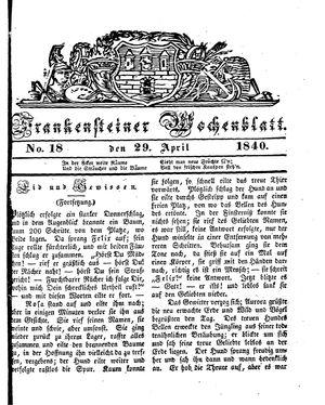 Frankensteiner Wochenblatt vom 29.04.1840