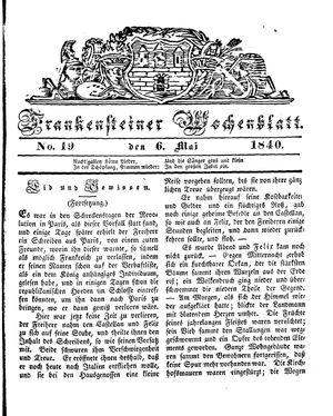 Frankensteiner Wochenblatt vom 06.05.1840