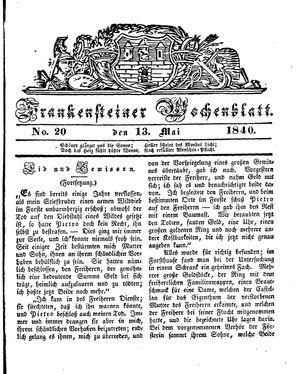 Frankensteiner Wochenblatt vom 13.05.1840