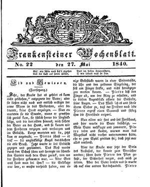 Frankensteiner Wochenblatt vom 27.05.1840