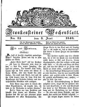 Frankensteiner Wochenblatt vom 03.06.1840