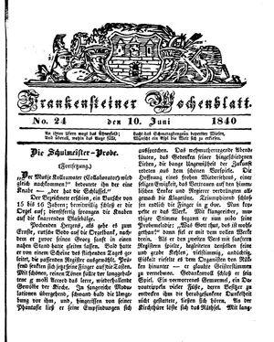 Frankensteiner Wochenblatt vom 10.06.1840