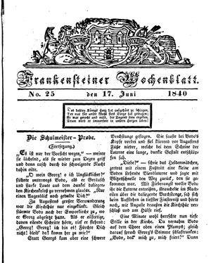 Frankensteiner Wochenblatt on Jun 17, 1840