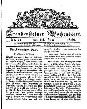 Frankensteiner Wochenblatt vom 24.06.1840