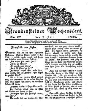 Frankensteiner Wochenblatt vom 01.07.1840