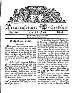 Frankensteiner Wochenblatt vom 22.07.1840