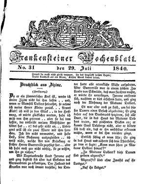 Frankensteiner Wochenblatt vom 29.07.1840