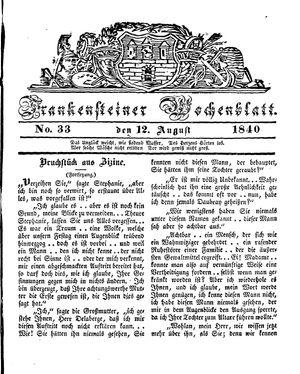 Frankensteiner Wochenblatt vom 12.08.1840