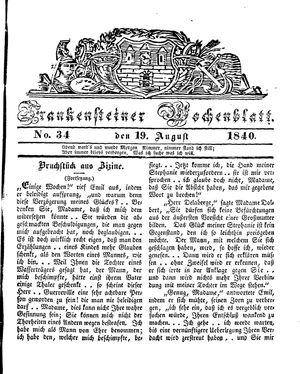 Frankensteiner Wochenblatt vom 19.08.1840