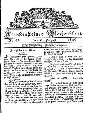 Frankensteiner Wochenblatt vom 26.08.1840