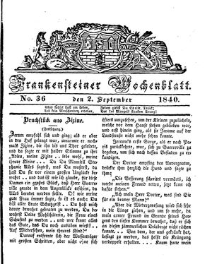 Frankensteiner Wochenblatt vom 02.09.1840