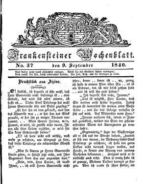 Frankensteiner Wochenblatt vom 09.09.1840