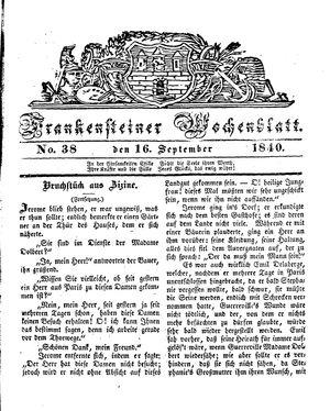 Frankensteiner Wochenblatt vom 16.09.1840