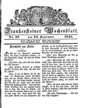Frankensteiner Wochenblatt on Sep 23, 1840