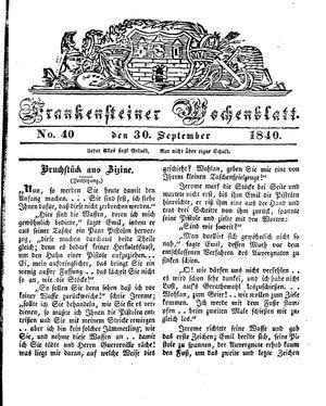 Frankensteiner Wochenblatt vom 30.09.1840
