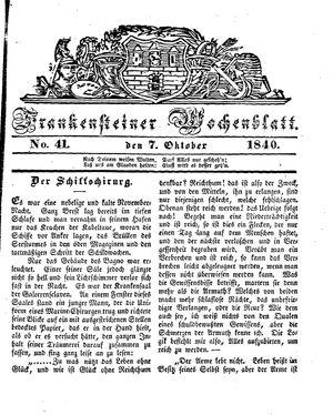 Frankensteiner Wochenblatt vom 07.10.1840