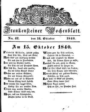 Frankensteiner Wochenblatt vom 14.10.1840