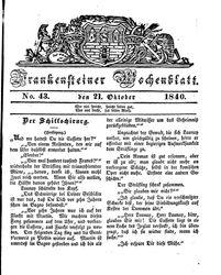 Frankensteiner Wochenblatt (21.10.1840)