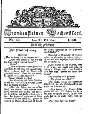 Frankensteiner Wochenblatt vom 21.10.1840