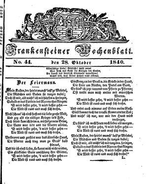 Frankensteiner Wochenblatt vom 28.10.1840