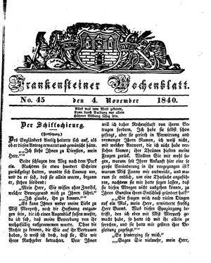 Frankensteiner Wochenblatt vom 04.11.1840
