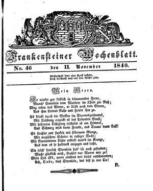 Frankensteiner Wochenblatt vom 11.11.1840