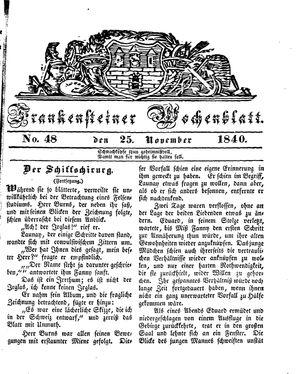 Frankensteiner Wochenblatt vom 25.11.1840