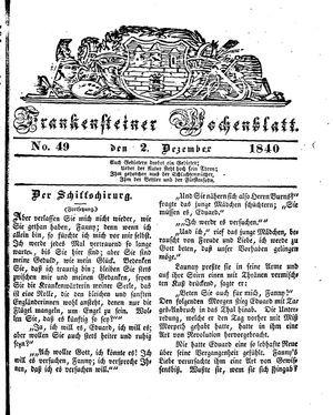 Frankensteiner Wochenblatt vom 02.12.1840