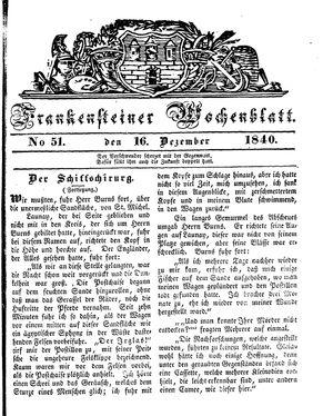 Frankensteiner Wochenblatt vom 16.12.1840