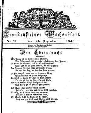 Frankensteiner Wochenblatt vom 24.12.1840