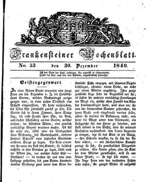 Frankensteiner Wochenblatt on Dec 30, 1840