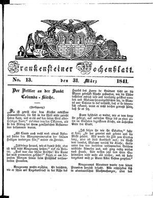 Frankensteiner Wochenblatt vom 31.03.1841