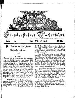 Frankensteiner Wochenblatt vom 21.04.1841