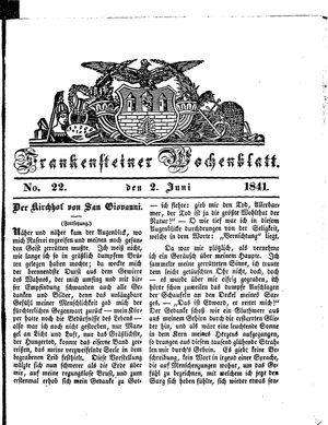 Frankensteiner Wochenblatt vom 02.06.1841