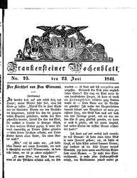 Frankensteiner Wochenblatt (23.06.1841)