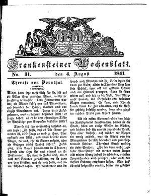 Frankensteiner Wochenblatt vom 04.08.1841