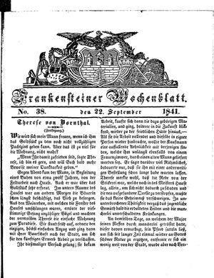 Frankensteiner Wochenblatt vom 22.09.1841