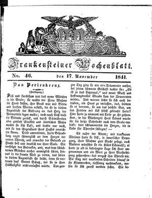Frankensteiner Wochenblatt vom 17.11.1841