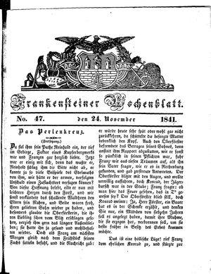 Frankensteiner Wochenblatt on Nov 24, 1841