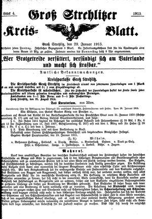 Groß-Strehlitzer Kreisblatt vom 29.01.1915